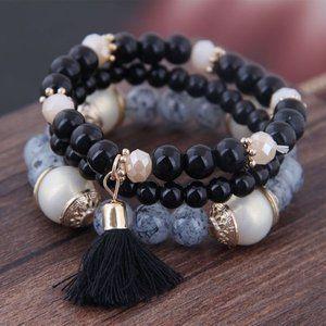 3/$20 New Black & Gold Tassel Beaded Bracelet Set
